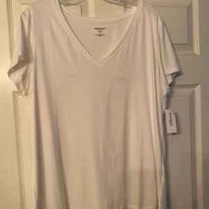 Solid white V-neck top never worn
